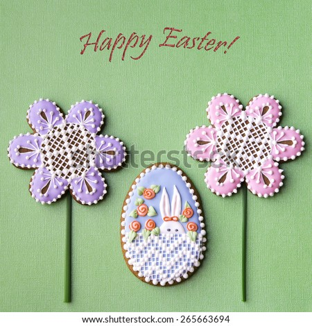 Happy Easter card. Home-baked and decorated Easter cookies. - stock photo