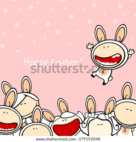 Happy Easter card with a group of kids in bunny costumes (raster version) - stock photo