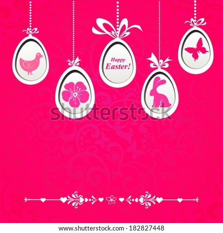 Happy Easter! Celebration pink background with Easter egg and place for your text.  illustration