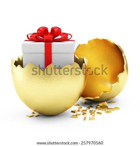 Happy Easter Concept. Big Broken Golden Egg with Gift Box Inside isolated on white background - stock photo