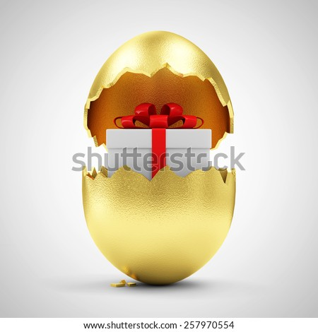 Happy Easter Concept. Big Broken Golden Egg with Gift Box Inside on gradient background