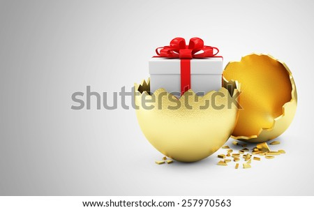 Happy Easter Concept. Big Broken Golden Egg with Gift Box Inside on gradient background with place for Your text