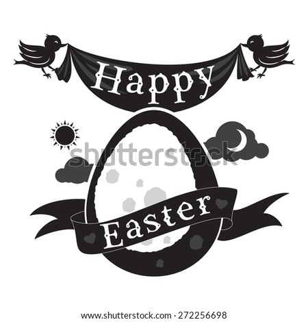 Happy Easter concept with egg, birds and ribbon - stock photo