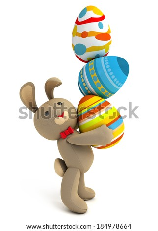 Happy Easter. Cute funny toy bunny holding in the paws a lot of Easter eggs. Isolated on white background. 3d render - stock photo