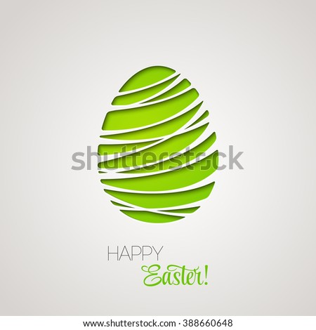Happy Easter decorated card paper egg.  Easter egg. Egg easter symbol. Color easter egg. Easter card with egg. Green easter egg. Easter eggs for Easter holidays design. Easter egg paper design.  - stock photo