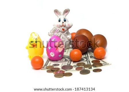 Happy Easter. Easter bunny and money. Photo. - stock photo