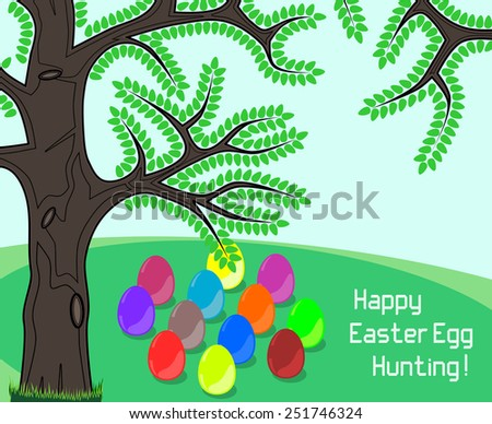 Happy Easter Egg Hunting greeting on a meadow containing colorful easter eggs for egg hunt. - stock photo