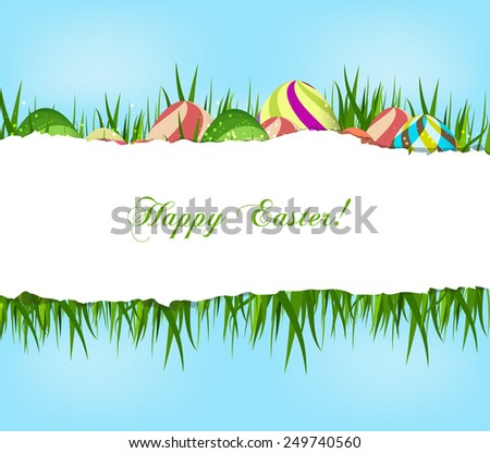 happy easter eggs background - stock photo