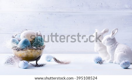Happy Easter!  Festive decoration with Easter eggs and Easter Bunny - stock photo