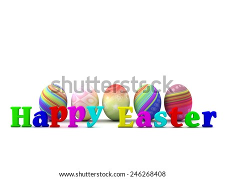 Happy Easter. Five colored eggs isolated on white background.  - stock photo