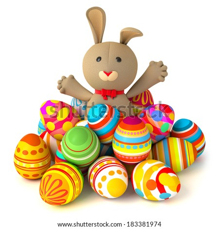 Happy Easter. Funny rabbit jumps out from a pile of Easter eggs. Conceptual illustration. Isolated on white background. 3d render - stock photo