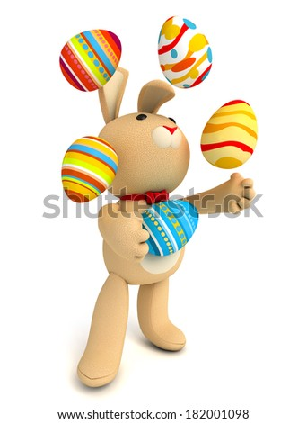 Happy Easter. Funny teddy rabbit juggling easter eggs. Isolated on white background. 3d render - stock photo