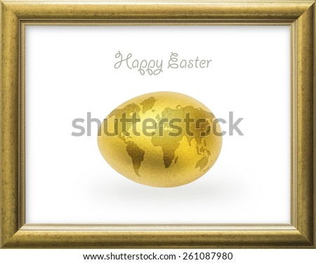 Happy Easter golden egg with world map in a gold color frame : A golden egg opportunity concept of fortune and a chance to be rich  - stock photo