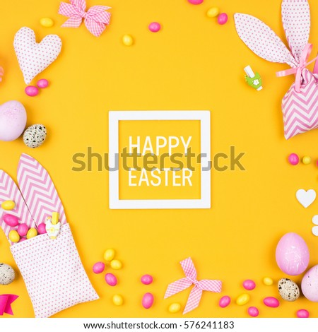 Happy easter greeting card flat lay stock photo 576241183 shutterstock happy easter greeting card flat lay stylish decoration pink and yellow easter eggs m4hsunfo Image collections