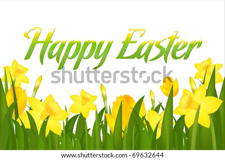 Happy Easter Greeting Card, Isolated On White Background - stock photo
