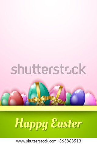 Happy Easter Greeting Card Template Eggs Stock Illustration