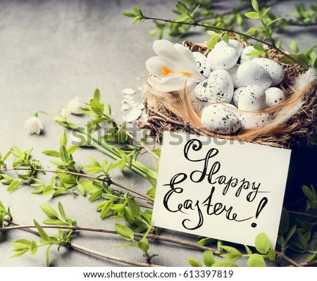 Happy easter greeting card bird nest stock photo royalty free happy easter greeting card with bird nest and eggs m4hsunfo