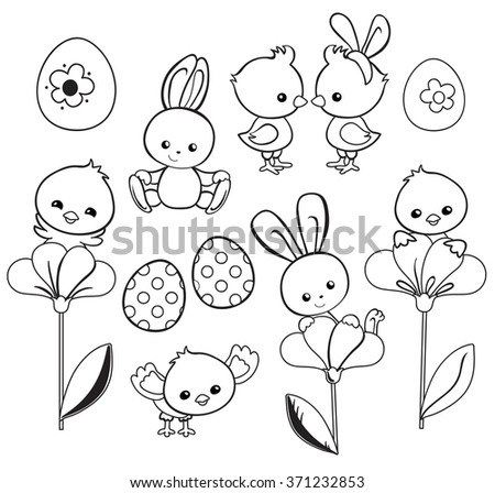 Happy Easter Holiday Illustration With Cute Chicken Bunny Duck Lamb Cartoon Characters
