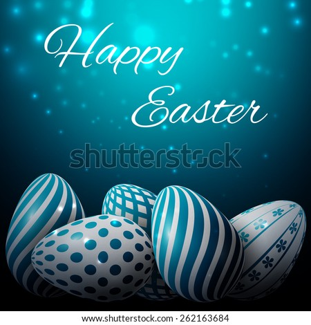 Happy Easter, many white-blue eggs with different patterns on a blue background, excellent  illustration - stock photo