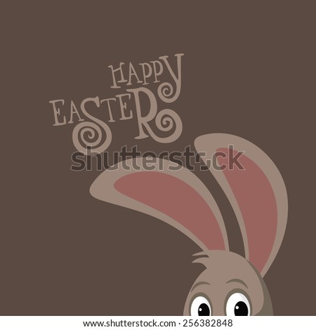 Happy Easter peeking bunny ears and hand drawn text royalty free stock illustration for greeting card, ad, promotion, poster, flier, blog, article, social media - stock photo