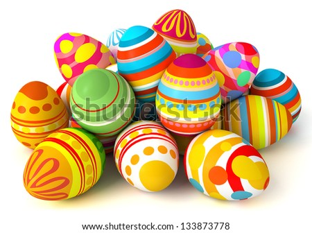 Happy Easter. Pile of eggs. Conceptual illustration. Isolated on white background. 3d render - stock photo