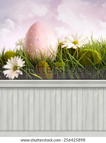 Happy Easter Spring background/backdrop - stock photo