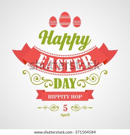 Happy Easter Typographical Background. Retro design - stock photo