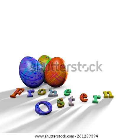 Happy Easter with colorful Easter eggs - stock photo