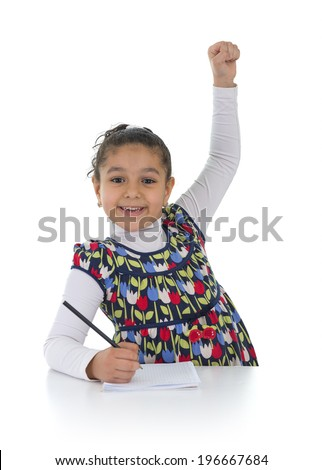 Happy Education Schoolgirl Isolated on White Background