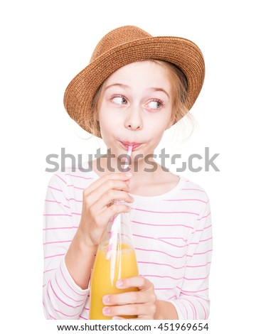 Happy eight years old pretty blond caucasian child girl in a hat with a bottle of fruit juice drink (isolated on white background). - stock photo