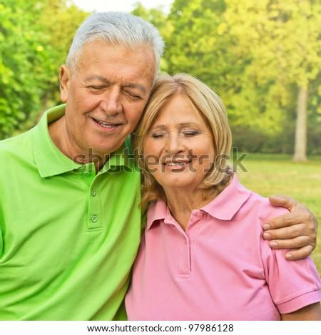 Happy elderly couple. - stock photo