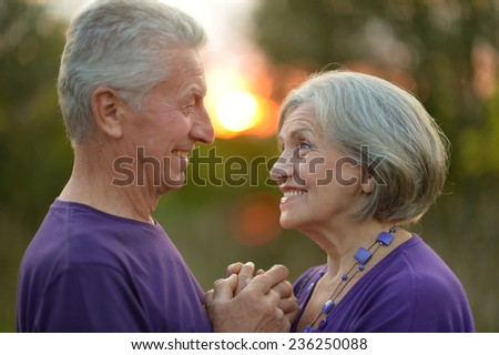 Happy elderly couple at nature on sunset background