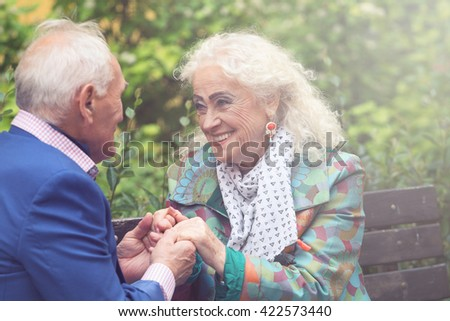 Happy elderly couple dating  - stock photo