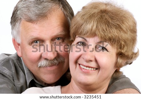happy elderly couple in love. Isolated over white background