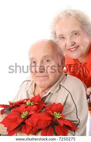 happy elderly couple smile - stock photo