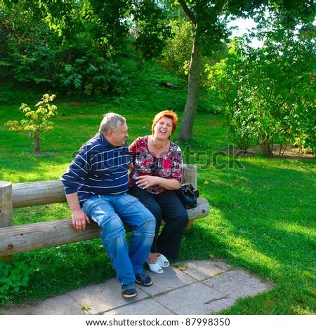 Happy elderly couple talking in the park - stock photo