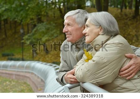 Happy Elderly couple walks in autumn park together - stock photo