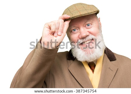 Happy elderly man, senior, is posing on white isolated background, color and contrast manipulated - stock photo