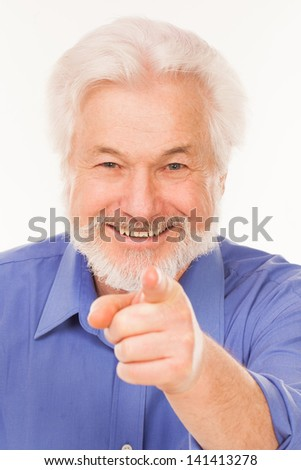 Happy elderly man with beard isolated over white background