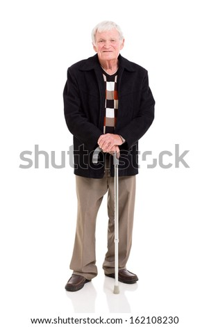 happy elderly man with his walking stick on white background - stock photo