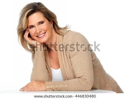 Happy elderly woman . - stock photo