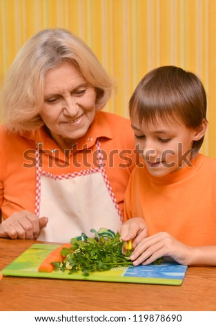 Happy elderly woman and the boy - stock photo