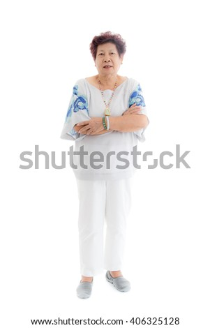 happy elderly woman. Isolated over white background - stock photo