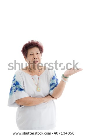 happy elderly woman rasing hand up. Isolated over white background