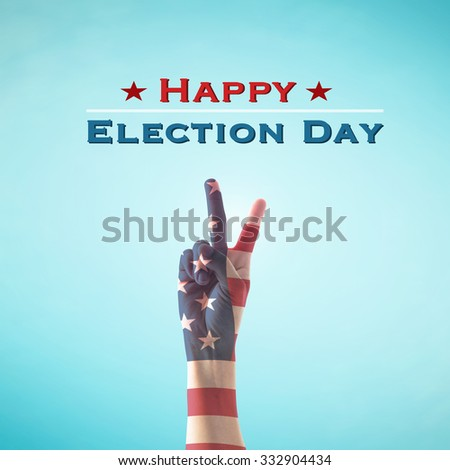 Happy election day text announcement message:  V shape hand sign for voting campaign with American flag pattern texture on blue vintage sky with cloud background: USA election day concept    - stock photo