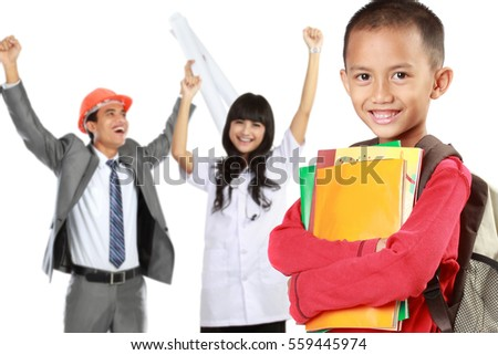 happy elementary student with books dreaming to be successful person in the future