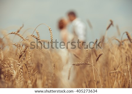 Happy embracing couple on the wheat field foreground. Focus point on wheat. - stock photo