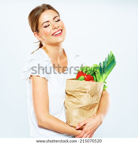 happy emotional woman hold shopping grocery bag . white background .