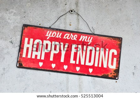 Happy ending word in post with white wall, vintage tone