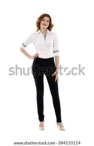 Happy european businesswoman in full length on white background - stock photo